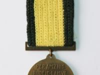34. Medalis. Lietuvos nepriklausomybės dešimtmečio. Lietuva. 1928 m. Bronza, Ø 36 mm. Priklausė Nepriklausomybės kovų savanoriui Juozui Lelešiui (1903–1996). Fot. Nijolė Adukonienė (reversas)