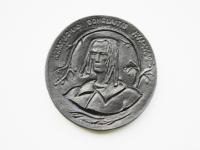 """43. Medalis. Kristijonas Donelaitis 1714–1780. 1990 m. Dail. Venslovas. Kauno ,,Dailė"""". Aliuminis. Ø 83 mm. Fot. Asta Sabonytė (aversas)"""