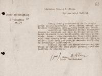 44. Trakų (Kaišiadorių) vietininkijos vietininko Broniaus Kliorės prašymas apdovanoti Juozą Merkį. 1937 m. (LCVA)
