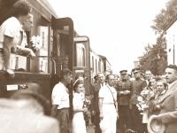 47. Prano Žižmaro ir Vilnijos sportininkų delegacijos sutikimas Kaišiadorių geležinkelio stotyje. 1938 m. liepos 16 d. (KšM)