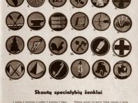 51. Skautų specialybių ženklai. Skautų aidas. 1938 m.