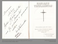 Algirdo Brazausko bibliotekos knyga su dedikacija. Naujasis testamentas. Lietuvos vyskupų konferencijos leidinys, Salzburg. 1989 m.