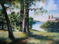 """Paveikslas. """"Žaslių bažnyčia ir ežeras"""". Apie 1975 m. Aut. V. Vaicenavičius."""