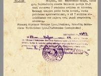 Pažymėjimo nuorašas, kuriuo pažymima, kad Kazys Brazauskas atleidžiamas nuo mokesčio už avilius. 1950 m.