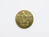 46. Medalis. Pivašiūnų Švč. Marija nuliūdusiųjų paguoda. Skirtas Pivašiūnų Žolinės atlaidams pažymėti, kurie rengiami nuo 1988 m. Lietuva. 1988 m. Žalvaris, Ø 35 mm. Fot. Nijolė Adukonienė (reversas)
